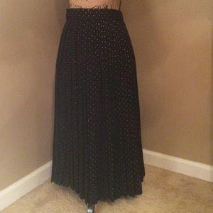 Black & Gold Pleated Skirt