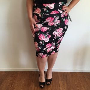Dresses & Skirts - Black & Pink Floral Skirt*