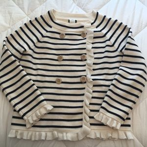 J Crew navy striped sweater/jacket with ruffles