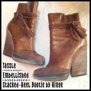 Hinge Shoes - Stacked Heel Tassle Bootie
