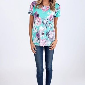 Tops - Mint Floral Tunic Tee
