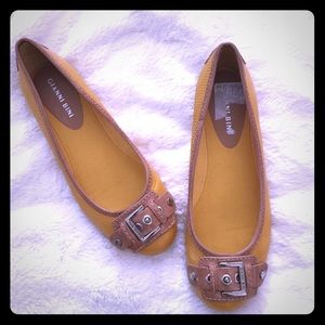 Gianni Bini Shoes - Yellow and Brown Flats with Buckle