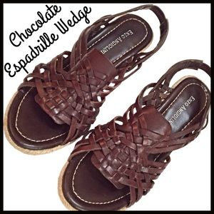 Enzo Angiolini Shoes - Chocolate Brown Espadrille Wedge