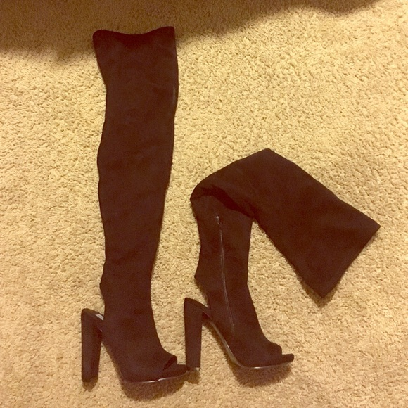 e344d72e2c9 NWT Suede thigh high peep toe boots