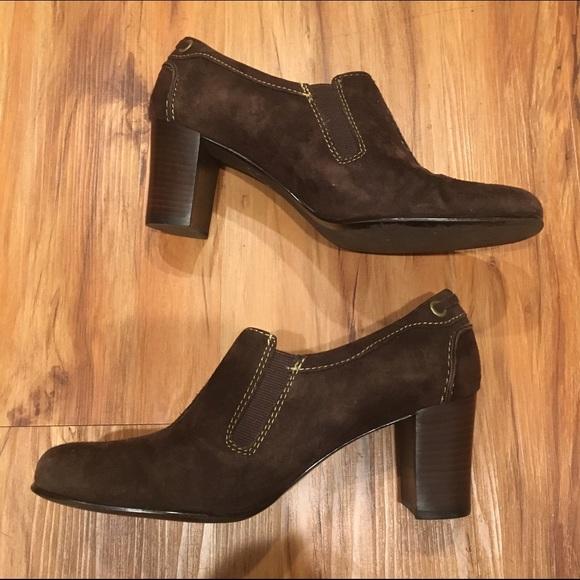liz claiborne liz claiborne brown suede heels from