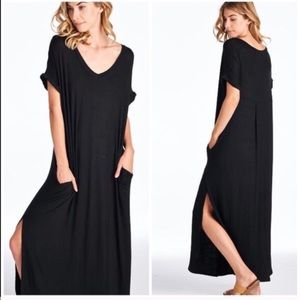 Black slouchy maxi dress, NWOT
