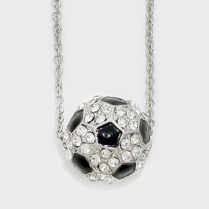 Jewelry - Crystal Pave Soccer Ball Pendant Necklace