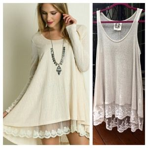 Lace trim extender shirt dress