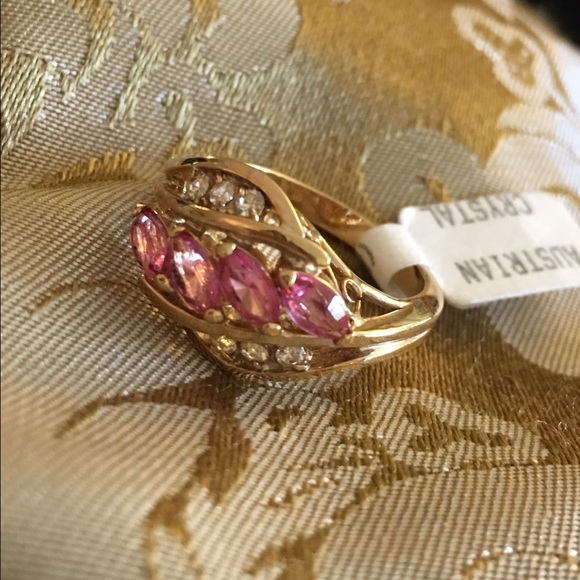 8 Statement Smokey Quartz /& Clear Austrian Crystal Rose Gold Plated Large Round Ring Size