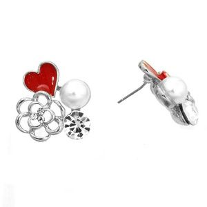 Red heart and flower post earrings,  silver