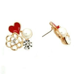 Red heart and flower post earrings,  gold