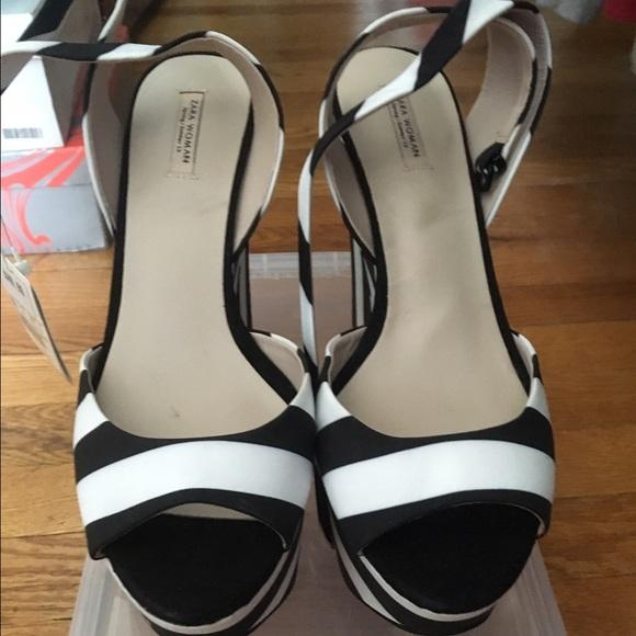 Zara Black And White Stripe Wedge