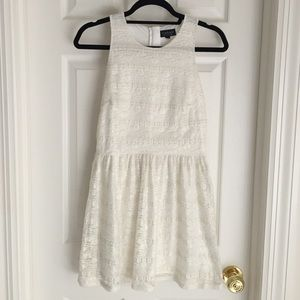 Topshop cream/gold metallic lace skater dress