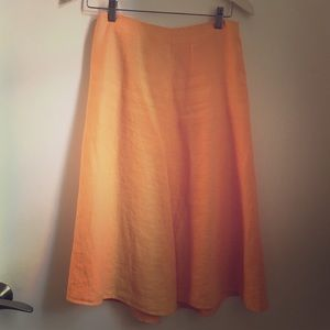 Banana Republic orange linen midi skirt