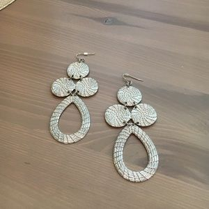 Silver Disc & Teardrop Chandelier Earring