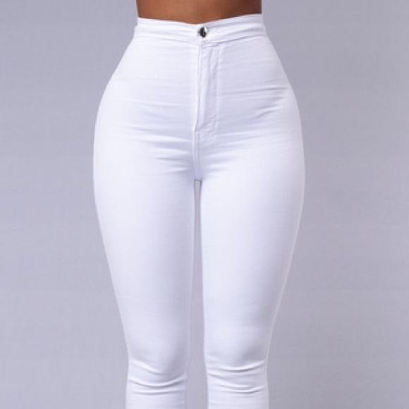 68f8ca6ac9d Fashion Nova Denim - Super high waisted white denim skinny jeans