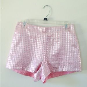 Pink and metallic houndstooth jacquard shorts