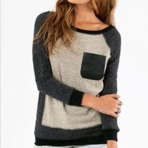 Tobi Sweaters - Tobi Leather Detail Sweater