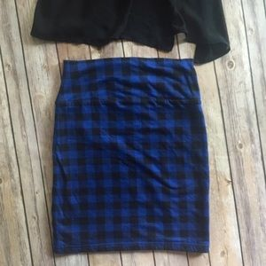 Forever 21 F21 Plaid Black & Blue Pencil Skirt