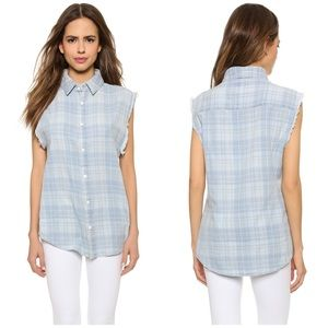 NWT Hudson Cutoff Plaid Chambray Tank