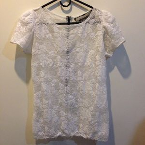 Reformation Tops - Reformation White Gauze Lace Blouse