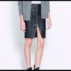 ZARA faux leather midi skirt