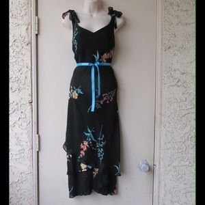 Dresses & Skirts - Black Maxi Dress W/Flowers Pattern - Layers & Belt