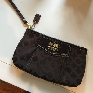 Coach Handbags - Brown Coach Wristlet with Removable Strap