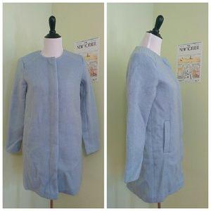 BB Dakota blue fuzzy coat ModCloth