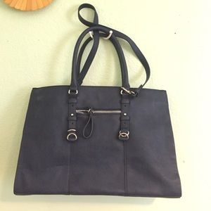 Vegan leather navy blue tote