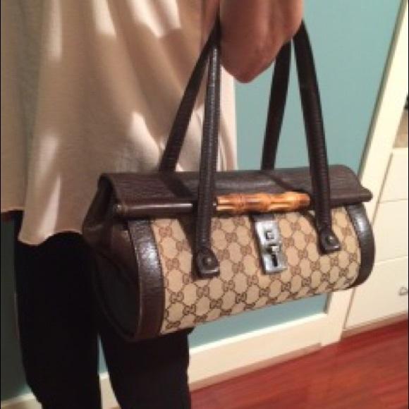 465510f07a3 Gucci Handbags - Classic Gucci Monogram Bullet Bamboo Satchel