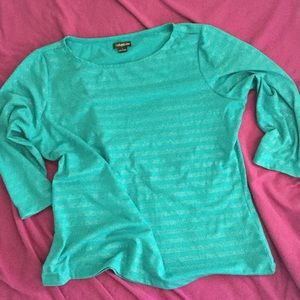 Claudia Ev Tops - Turquoise 3/4 Sleeve  Top With Silver Accents
