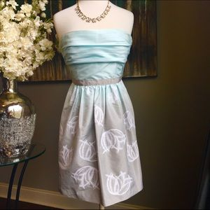 BCBGMaxAzria Blue and Taupe Floral Print Dress
