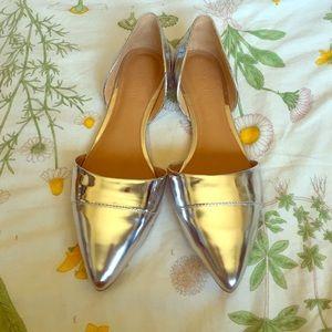 J. Crew Factory Shoes - J. Crew Factory Silver D'Orsay Flats