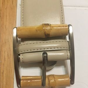 Accessories - VINTAGE LEATHER BEIGE BELT WITH SIMULATED BAMBOO
