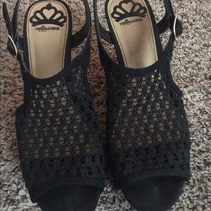 Fergalicious Shoes - Fergalicious Black 4 inch Wedge Heels
