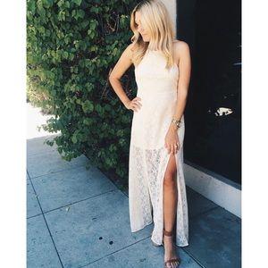 White Lace Double Slit Lace Up Back Maxi Dress