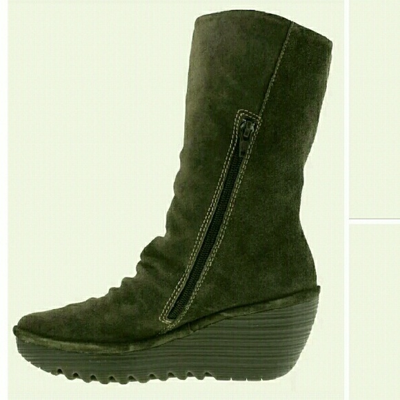 46 Off Fly London Shoes Sold Fly London Yara Suede Mid Boots Olive 8 5 From Kate S Closet