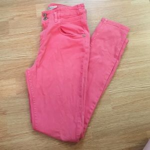 Topshop MOTO high-waisted coral jeans