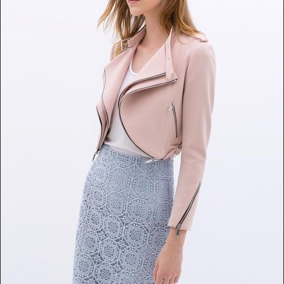 a8d85130 Zara Jackets & Coats   Pink Cropped Jacket With Zips   Poshmark
