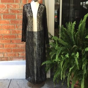 Black Lace Long Maxi Boho Cardigan Size 16 &22W