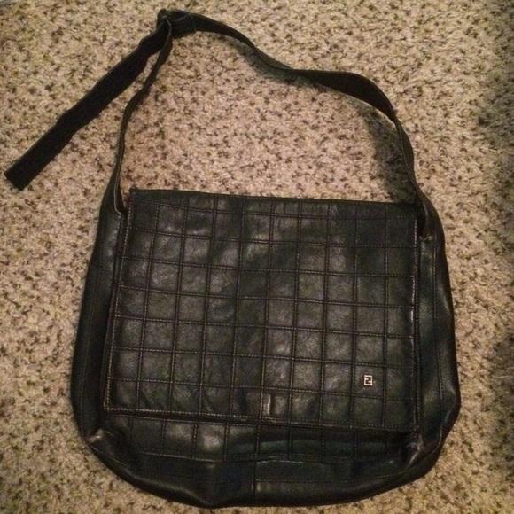 FENDI Handbags - HP🎉 Fendi Vintage Black Leather Messenger Bag e50a97ce7c