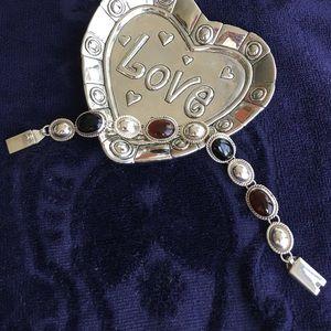 Sterling Black Onyx and Smokey Quartz  Bracelet