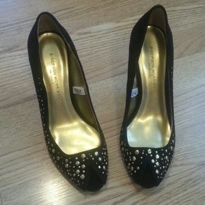 Sigerson Morrison Shoes - Open toe black suede pumps with golden beads
