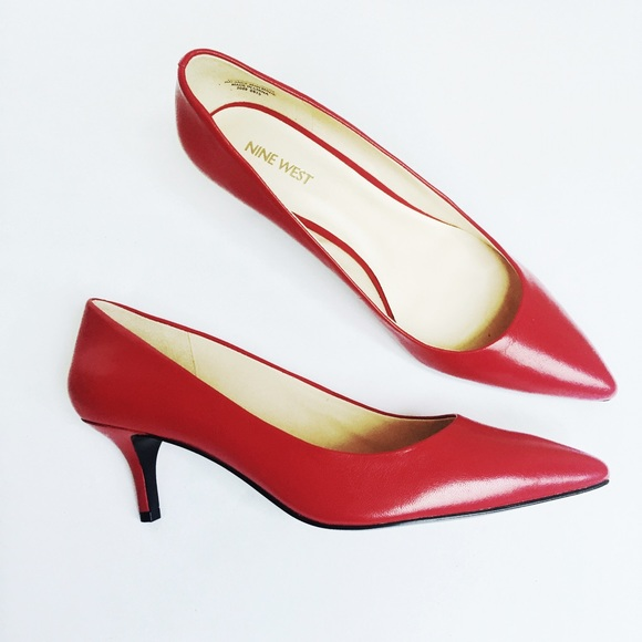 9f8090ed657 NINE WEST red leather kitten heel pumps. M 578c0f2cc6c795b03100ff69