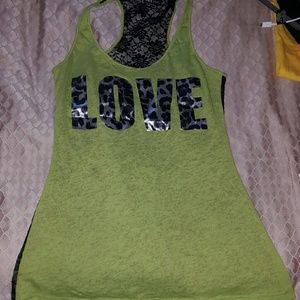 Bright Green Love Leopard tank top
