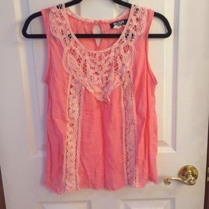 Coral crochet front tank top.