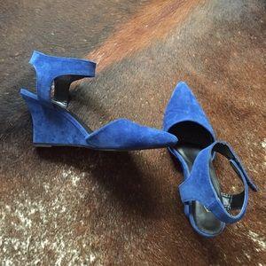 Faux suede blue wedge heels