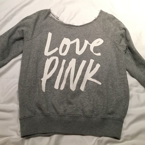 81% off Victoria's Secret Tops - Victoria's Secret Love PINK Grey ...
