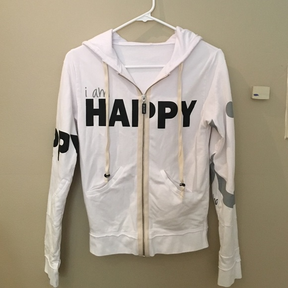 Peace Love World Happiness White Jacket Hoodie
